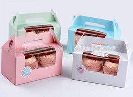 Wholesale Eco Cake Packaging - NEW Card Paper Party Cupcake boxes, Cake Packaging Boxes holder 2pcs cupcake with handle muffin box MYY