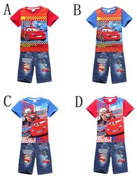 Wholesale Cars Suits - Summer New style Car Pattern Boys T Shirts +Jeans Suit Cartoon pure cotton Children T Shirt Kids Clothing 5 set  lot C001