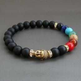 Wholesale Buddha Sale - SN0235 Top Sale Mala Buddha bracelet 7 chakra Bracelet Black onyx Matte bracelet Fashion Jewelry free shipping