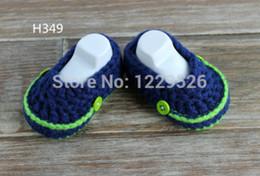 Blous manches bleues en Ligne-Bébé mocassins chaussures bleu / vert bébé mocassins bébé tricoté chaussures marcheur premier 0-12M chaussures de bébé personnalisé