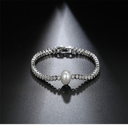 Wholesale Cz Pearl Wedding Bracelet - New Fashion White Gold Plated AAA Zircon CZ Crystal Bracelet & Bangles For Women Girls Birthday Gifts Natural Pearl Charms Bracelet Wedding