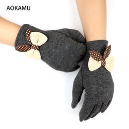 Wholesale Organic Cotton Gloves - Women Cloth Gloves Fashion Design Winter Ladies Gloves Trendy Elegant Soft Weaved Knit Wrist Cute Bowknots Mittens Gloves