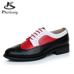 Wholesale Summer Dresses For Big Women - Wholesale- Genuine leather big woman US size 11 designer vintage flat shoes round toe handmade red white black oxford shoes for women fur