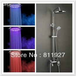 Wholesale Placa Led - Wholesale-to tap 8 inch 20cm shining led light shower mixer faucet tap set Fast delivery placa led