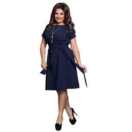f7e5779b13e Wholesale- Casual Blue Women Dresses Big Sizes 2017 NEW Plus Size Women  Clothing 6XL Summer Dress Flare Sashes Females Dress robe femme