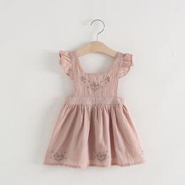 Wholesale Natural Linen Dresses - Little Baby Girls Embroidery Floral Dresses Kids Girls Princess Ruffles Dress Babies Cotton Linen Suspender Dress 2018 Kids Clothing
