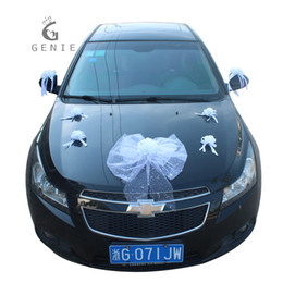 Wholesale Artificial Foam Roses - Genie White Wedding Car Decoration Set Artificial Flowers Foam Rose Silk Pompoms Pearls Diy Cars Accessories Wreath Garland 2017