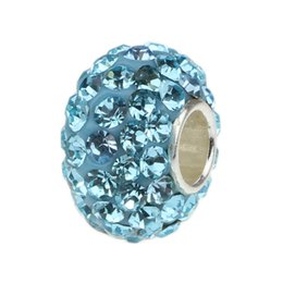 Wholesale European Bead Sterling Core - Turquoise Crystal Beads 925 Sterling Silver Core Bead For European Bracelets