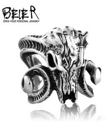 Wholesale Skull Ring Ancient - BEIER 2016 Fashion Thai silver style domineering man titanium steel ring Ancient red skull argali free shipping