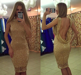 Wholesale Prom Dresses Days - 2016 Gold Sequins Sheath Short Party Dresses for Valentine's day Cap Sleeves Mini Cocktail Dresses Sexy Backless Homecoming Gowns Prom Dress