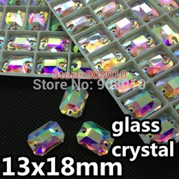 Wholesale Octagon Rectangle Rhinestones - 28pcs New Shiny Crystal AB Sew On Stones 13x18mm Glass Crystal Rectangle Octagon Flatback Sew On Rhinestones
