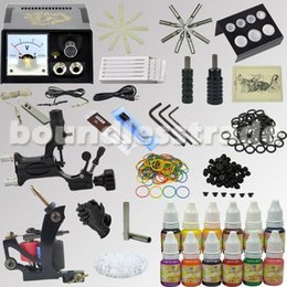 Wholesale Tatoo Gun Needles - OPHIR 346pcs Professional 2 Complete Tattoo Kit Tatto Gun Machine Set with 12x10ml Colors Tatoo Ink Pigment Grip Needles _TA070