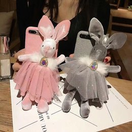 Wholesale Cases For Dolls - For iphone 6 6s 7 8 plus X Luxury Cute Diamond glitter Rabbit Doll furry soft fiber phone case cover