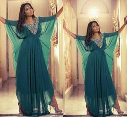 Wholesale Sexy Satin Clothes - 2015 Jewel Neck Long Crystal Beaded Islamic Clothing for Women Abaya in Dubai Abaya Kaftan Muslim Arabic Evening Dresses Party Prom Gowns