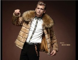 Wholesale Male Heavy Collar - Fall-2016 heavy hair collar fur coat winter to keep warm personality male coat artificial imitation fur big yards