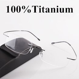 Wholesale Eyeglasses Picture Frame - Wholesale-Classic eyes box ultra-light titanium rack rimless eyeglasses frame glasses myopia picture frame oculos de grau FREE SHIPPING