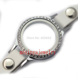 Wholesale Leather Bracelet Floating Locket - Wholesale-new year 2015 10pcs magnet white leather wrap floating charm memory living 30mm glass locket bracelet ,charms not included