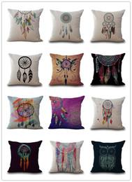 Cojines con estampado de plumas online-16 Estilos Dreamcatcher Cojín Impreso Cubierta de la Sala de estar Funda de Almohada Indian Feather Sofá Throw Pillow Case Cojín Cubre 18x18 Pulgadas