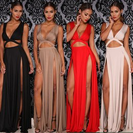 Wholesale Double V Dress - White Black Red Khari Cropped Deep V Neck Women Sexy Two Side High Slit Maxi Dress Double Split Cut Out Evening Prom Party Long Dress 60230