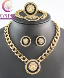 Wholesale Wholesale Fashion Jewelry Lion - Wholesale-New Vintage Lion Head Myth Medusa Pendant Necklace Earrings Bracelet Ring 18K Gold Plated Rhinestone Fashion Jewelry Set