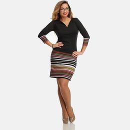 Wholesale Elegant Black Stripes Dress - New Arrival Women's Spring Long Sleeve Black and Color Stripes Middle Dress Casual Stripe Dress Cotton Knitted Elegant Style Dress