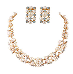 Wholesale Wholesale Jewlery Settings - Fashion Pearl Necklace Earrings Jewelry Sets 18K Gold Plated Crystal Jewlery Women Fine Jewelry Sets For Best Gift 42D24