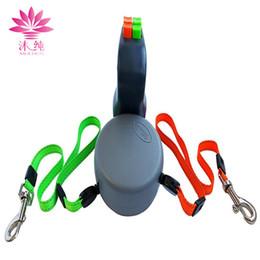 Wholesale Retractable Belt Dog Leash - Dual Doggie 2 Dogs 50 pound Retractable Leash 3 meters Automatically Adjustable Durable Leash Dog Harness Belts Pet Supplies
