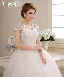 Wholesale Dress Ball Grown - Sale China Custom Made New Spring 2015 Korean Style Summer Bride Wedding Dress Shoulder Strap Lace Strap Shoulder Princess Ball Grown Dress