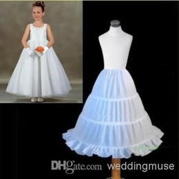 Wholesale Petticoats For Children - Hot Sales Cheap Three Circle Hoop Children Kids Dress Slip White Ball Gown Underskirt Accessory Petticoat For Flower Girls DL001