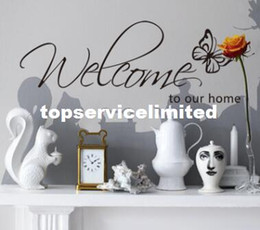 Wholesale Wall Stickers Welcome - Butterfly Welcome to Our Home Vinyl Wall Art Decals Quotes Saying Home Decor Christmas Wall Sticker