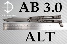 Wholesale Clip Cnc - [ BALIPLUS BLADES ] BALIPLUS AB BALISONG BUTTERFLY KNIFE AB 3.0  TI HANDLE TI CLIP BUSHING SYSTEM CNC LATCH CNC HANDLE FLIPPING