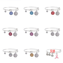 Wholesale Silver Cancer Charm - 9 styles gold silver Vintage Hope Love Faith Breast Cancer Awareness Charm Bracelet Expandable Women Bangles free shipping