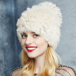 Wholesale Knitted Hats Big Ball - Wholesale-Women Real Fur Hat with Earlap Beanie Winter Keep Warm Hats Big Ball Cap Genuine Rabbit Fur Knitted Hat