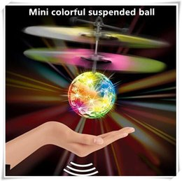 Wholesale Fly Big - New pattern LED Ball Helicopter Ball Flying Induction LED Noctilucent Ball Quadcopter Drone Sensor Suspension Aircraft for Kids Xmas Gift
