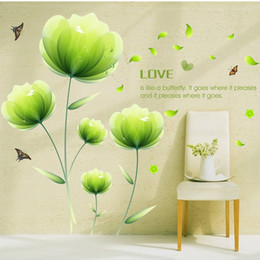Wholesale Korean Style Sofas - Green Flower Butterflies Fluttering Wall Sticker Bedroom Sofa TV Backdrop Home Decorative Painting Wall Decor Stickers