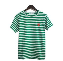Wholesale Shirt Small - Wholesale discount high quality small heart embroidery stripes T shirt PLAY green powder blue tri-color stripes short-sleeved cotton short T