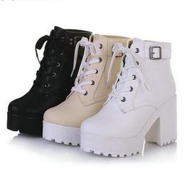 Wholesale Lace Up Platform Heel Punk - 3 Color Winter Lace-Up Sexy Women Boots Fashion Platform punk high square heels Black Buckle Ankle boots Plus Size 34-43 Black