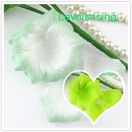 Wholesale White Wedding Fabric Decor - 5 packs(720pcs) Light Green-White Non-Woven Fabric Artificial Rose Flower Petal For Wedding Party Favor Decor-Free Shipping