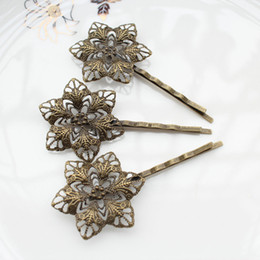 Wholesale Hair Clips Bronze - 100pcs big Antique Bronze Filigree Flower Bobby Pins, Hair Flower clips, Hair Accessories sunflower hair clips
