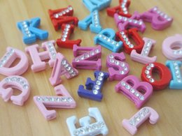 Wholesale Letters Colored Rhinestones - 8 mm English alphabet colored rhinestones alloy fittings diy charms