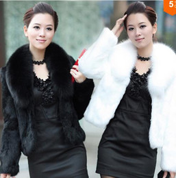 Wholesale Haining Fur - New Winter Imitation Mink Fur Coat Female Short Paragraph Haining Leather Grass Fox Fur Collar Fur Coat Women Jacket Plus Size