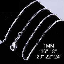 Wholesale Wholesale Necklace Chain Bulk - 2016 hot 925 silver Box chain vintage necklace hot sale 1MM 16-24 inch bulk 30pcs lot