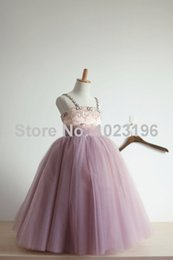 Wholesale Pretty Little Princess Dresses - 2017 New Pretty Mint Tulle Flower Girl Dress Floor Length Beads Crystal Puffy Little Girl Birthday Party Dress For Wedding