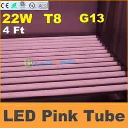Wholesale Led Tube Tuv - Meat Tube T8 LED Tube 22W 4ft 1.2m Pink LED chips fluorescent tube lamp SMD2835 AC85-265V CE RoHS UL FCC ETL SAA TUV 25pcs lot