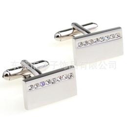 Wholesale Silver Diamond Cufflinks - Spot factory geometry rectangular diamond cufflinks French cuff links CZ