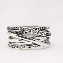 Wholesale Silver Wedding Ring Waves - Charm Ring Waving Soft Branch Manual Embed CZ Authentic 925 Sterling Silver Fashion Women Jewelry Retro European Style For Pandora With Box
