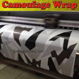 Körper grafik autos online-Schwarz weiß grau Arctic Camouflage / Camo Vinyl für Car Wrap Pixel Camo Aufkleber Film mit Luft Release Fahrzeug Grafik Größe: 1,52 x 30m / Rolle