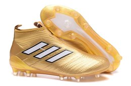Wholesale Fall Kid - 2017 Mens laceless Youth purecontrole FG ace ace 17 soccer cleats Original High Ankle Kids Boy football soccer shoes boots High Quality Gold