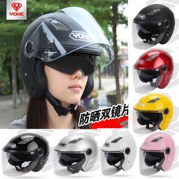 Xxl capacetes de bicicleta on-line-YOHE dual lens inverno meia face capacete da motocicleta Eterna bicicleta elétrica capacete capacete de motocicleta YH837A TAMANHO M L XL XXL 7 cores