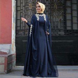 Wholesale Fashion Turkish Dresses - Modest Navy Blue Muslim Evening Dresses Hijab Dubai Party Dresses Abaya Kaftan Dress Turkish Arabic Abiye Gowns